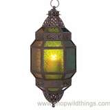 "CLEARANCE Multi Color Hanging Moroccan Arabian Nights Lantern ""Fatima"""