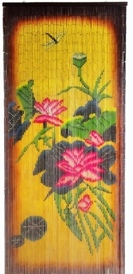 Flowers U0026 Dragonfly Colorful Painted Bamboo Curtain   ShopWildThings.com