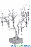 Natural Manzanita Tree in Wood Base - Matte Metallic Silver - 2 Feet Tall
