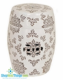 """Natural Splendor""  Garden Stool 18""  - Ceramic - Ivory with Brown Designs"