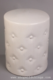 "Off White Ceramic Garden Stool ""Buttons"" 13.75"" x 18"""