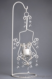 "CLEARANCE Off-White Metal Scroll Candle Holder on Stand ""Tina"""