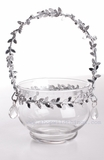 """Olivie""Glass Candle Holder / Vase with Silver & Crystal Beaded Trim"