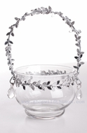 """Olivie""Glass Candle Holder / Vase 6"" with Silver & Crystal Beaded Trim"