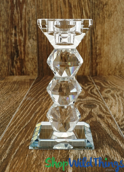"Real Crystal Prism Candle Holder ""Palermo"" - 5 1/2"" - Taper or Tealight"