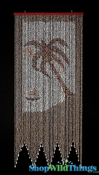 Nassa Shells Beaded Curtain - Palm Tree Beach Scene