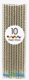 Paper Straws, Chevron, Gold, 10 Ct