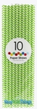 Paper Straws, Chevron, Green, 10 Ct