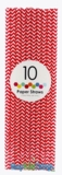 Paper Straws, Chevron, Red, 10 Ct