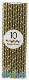 Paper Straws, Polka Dots, Gold, 10 Ct