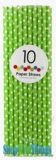 Paper Straws, Polka Dots, Green, 10 Ct