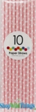 Paper Straws, Polka Dots, Light Pink, 10 Ct