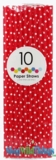 Paper Straws, Polka Dots, Red, 10 Ct