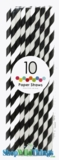 Paper Straws, Stripes, Black, 10 Ct