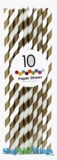 Paper Straws, Stripes, Gold, 10 Ct