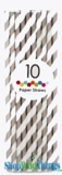 Paper Straws, Stripes, Gray, 10 Ct