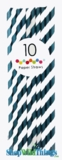 Paper Straws, Stripes, Navy, 10 Ct