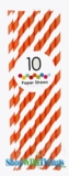 Paper Straws, Stripes, Orange, 10 Ct
