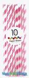 Paper Straws, Stripes, Pink, 10 Ct