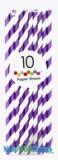 Paper Straws, Stripes, Purple, 10 Ct