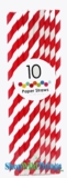 Paper Straws, Stripes, Red, 10 Ct