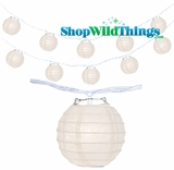 "Paper Lanter String Lights - 4"" Beige Round"