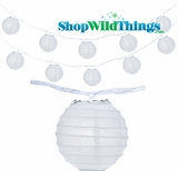 "Paper Lantern String Lights - 4"" White Round"