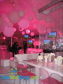 Pink Perfection Party - Emeralds Beaded Curtains & White Stools
