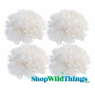 "Pom Poms 12"" Tissue Paper - White - Set of 4"