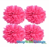"Pom Poms 16"" Tissue Paper - Fuchsia - Set of 4"