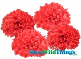 "Pom Poms 16"" Tissue Paper  - Red - Set of 4"