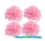 "Pom Poms 20"" Tissue Paper  - Pink - Set of 4"