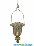 """Prague"" Metal Candle Holder W/ Hanging Chain- Shabby Chic Cream Rustic"