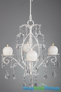 """Rachelle""  Crystal & White Hanging Candle Chandelier, Medium"