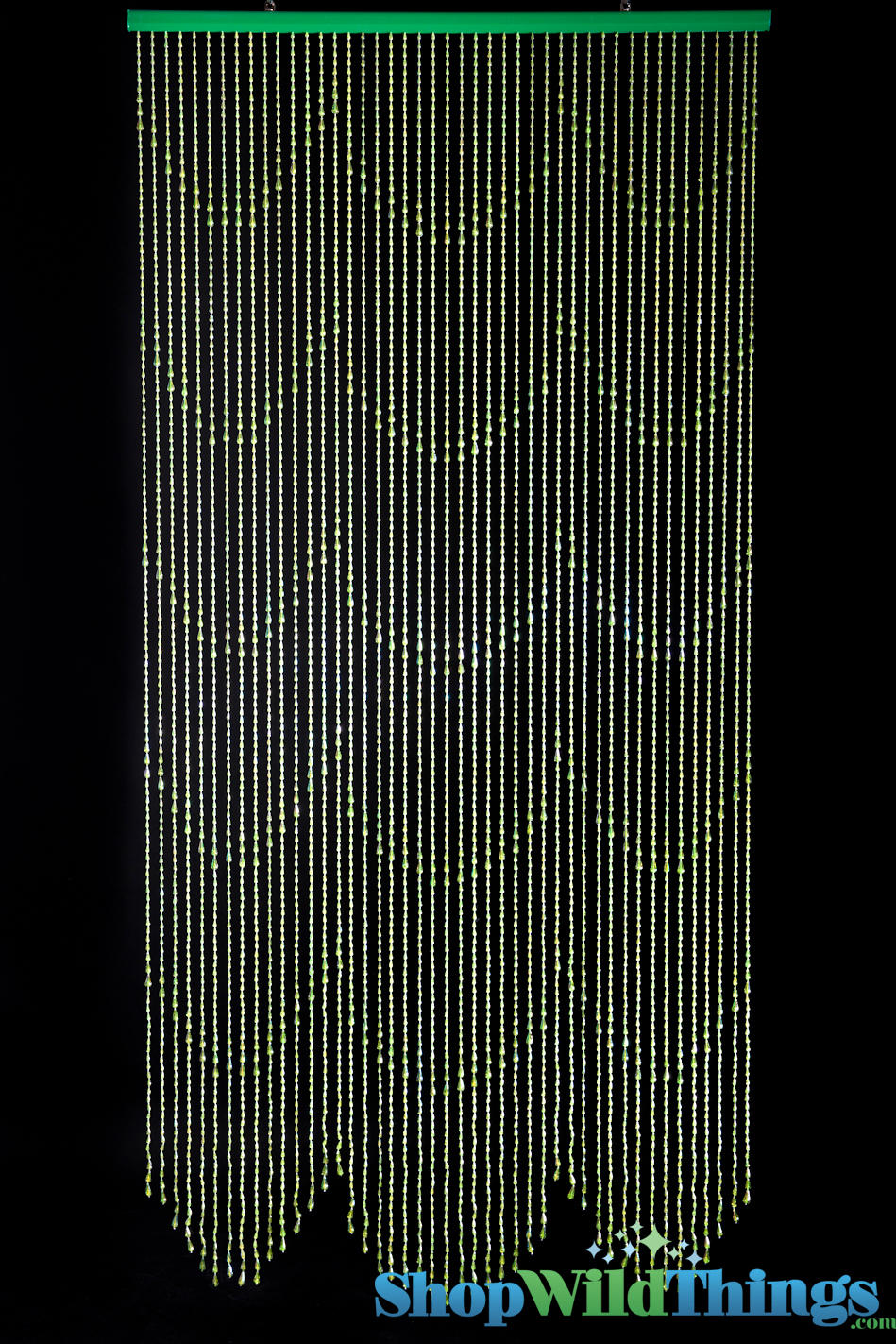 Beaded Curtains, Raindrop Lime Iridescent, Green Beaded Curtains, Lime ...
