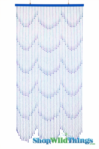 Raindrops Beaded Curtain - Blue Iridescent - 3 ft x 6 ft