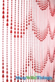 Raindrops Beaded Curtain - Red Non-Iridescent - 3 ft x 6 ft