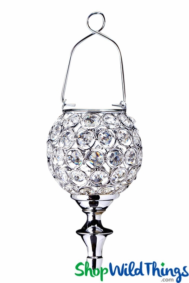 """Real Crystal Beaded Hanging Candle Holder - """"Prestige"""" Silver 12"""" Long"""