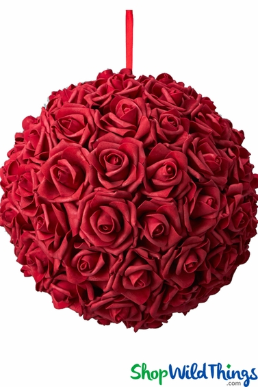 13 Quot Red Rose Kissing Ball Centerpiece Shopwildthings Com
