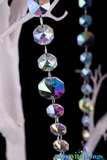 "Real Glass Crystals Beaded Hanging Garland - Iridescent Octagons - 39"" Strands"