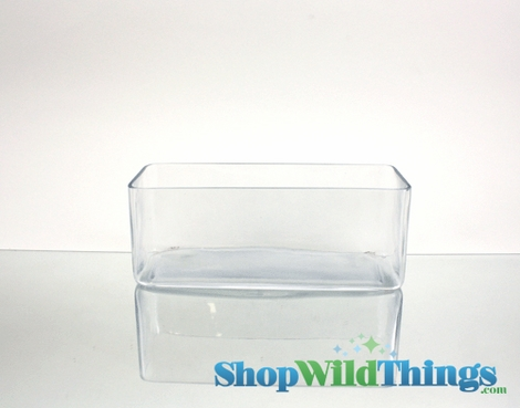 """Rectangle Vase - Clear Glass - 10"""" Long x 4"""" Wide x 4"""" tall - 2 Pieces"""