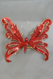 Red & Gold Acanthus Butterfly on Clip, Red 6""
