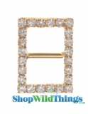 "Buckle Favor Decor -  5/8 x 7/8"" - Rhinestones - Gold"