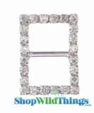 "Buckle Favor Decor -  5/8 x 7/8"" - Rhinestones - Silver"