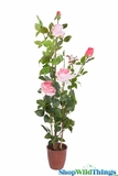 "Rose Bush in Ceramic Pot - Lifesize 43""H Pink - High Quality Silk Roses"