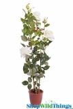 "Rose Bush in Pot - Lifesize 43""H Cream/Yellow - High Quality Silk Roses"