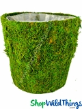 "Round Moss Covered Pot w/Liner, 9.5"" High"