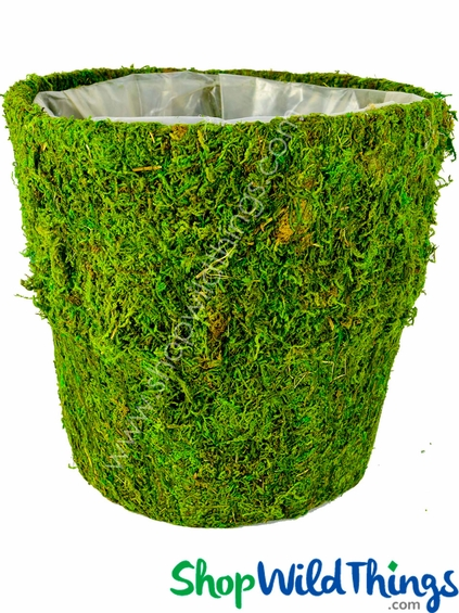 """Round Moss Covered Pot w/Liner, 9.5"""" High"""