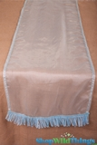 Runner Sheer w/Ribbon Border - Light Aqua Blue 16x72""