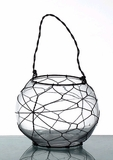 "SALE! ""Avery"" Glass Candleholder with Wire - Tabletop or Hanging"